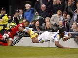Clermont Auvergne's Naipolioni Nalaga scores a try against Toulon on May 18, 2013