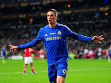 Chelsea's Fernando Torres celebrates moments after scoring the opening goal against Benfica on May 15, 2013