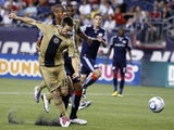 Philadelphia Union's Jack McInerney scores during the match with the New England Revolution on August 28, 2010