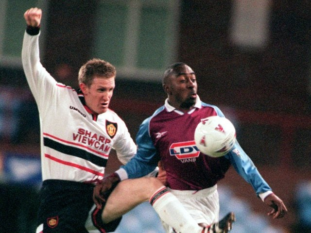 John Curtis in action against Aston Villa