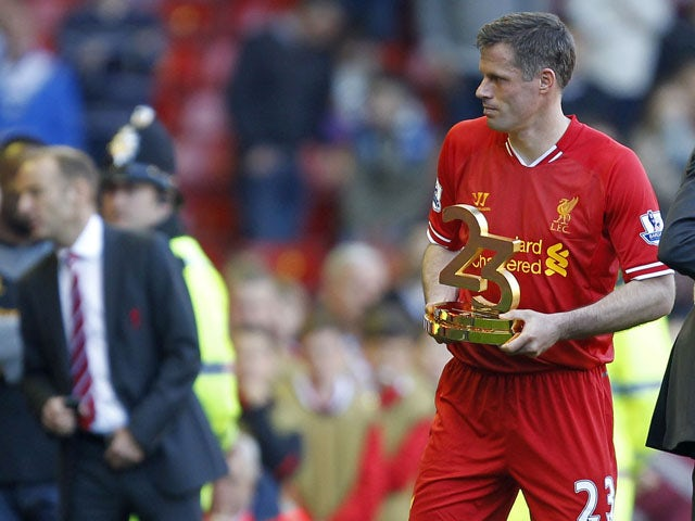 Liverpool's Jamie Carragher following his final appearance for the club on May 19, 2013