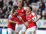 Arsenal Laurent Koscielny celebrates scoring against Newcastle on May 19, 2013