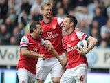 Arsenal Laurent Koscielny celebrates scoring against Newcastle on May 19, 2013