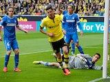 Dortmund's Robert Lewandowski celebrates after scoring the opener against Hoffenheim on May 18, 2013