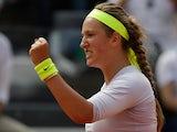 Victoria Azarenka celebrates after defeating Sara Errani in the Rome Masters on May 18, 2013