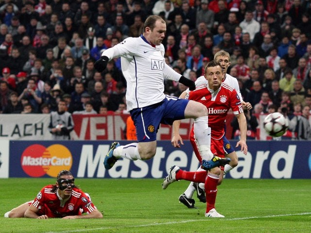 Wayne Rooney scoring a goal against Bayern Munich in 2010.