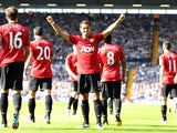 Manchester United's Javier Hernandez celebrates scoring his side's fifth goal against West Brom on May 19, 2013