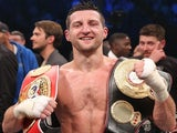 Carl Froch celebrates his win over Mikkel Kessler on May 25, 2013