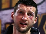 Carl Froch speaks to the press after his fight against Mikkel Kessler on May 25, 2013