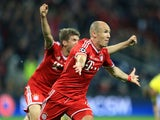 Bayern Munich's Arjen Robben celebrates scoring the winning goal in the Champions League Final on May 25, 2013