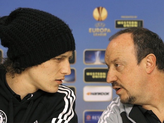 David Luiz with Rafael Benitez at a press conference on March 6, 2013