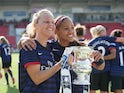 Arsenal's Gilly Flaherty and Alex Scott celebrate their win over Bristol Academy on May 26, 2013