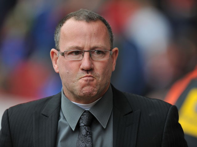 Carlisle United's Manager Greg Abbott during the match against Sheffield United on April 1, 2013