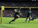 Leicester's Niall Morris runs into score the first try of the Aviva Premiership Final against Northampton Saints on May 25, 2013
