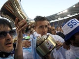 Lazio's Miroslav Klose celebrates winning the Coppa Italia against Roma on May 26, 2013