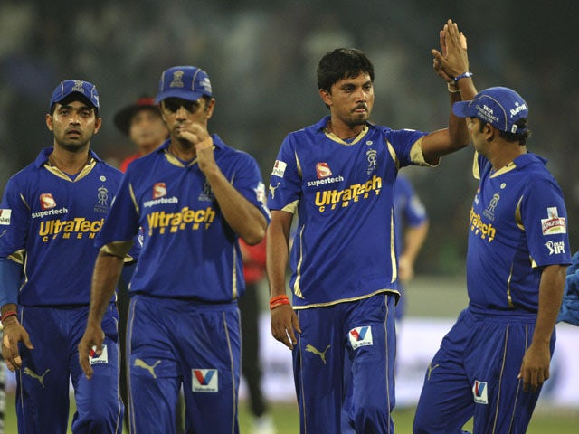 Rajasthan Royals' bowler Siddharth Trivedi celebrates after dismissing Deccan Chargers' Akshath Reddy on May 18, 2012