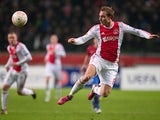 Ajax's Christian Eriksen in action on February 14, 2013