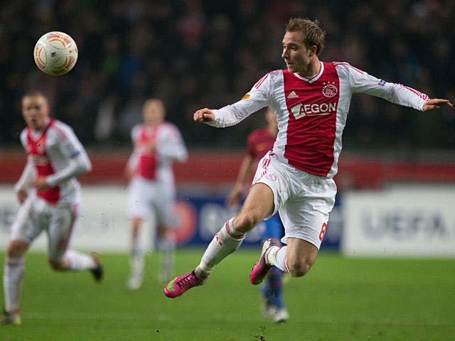 Ajax's Christian Eriksen in action on February 14, 2013
