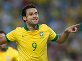 Brazil's Fred celebrates after scoring the opening goal against England during a friendly match on June 2, 2013