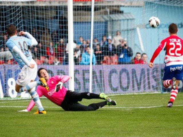 Iago Aspas scores during a La Liga match.