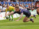 Wigan Warriors' Josh Charnley scores his team's second try against Wakefield Wildcats on June 2, 2013
