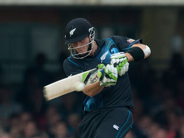 New Zealand's Martin Guptill hits a shot during a first one-day international cricket match against England on May 31, 2013