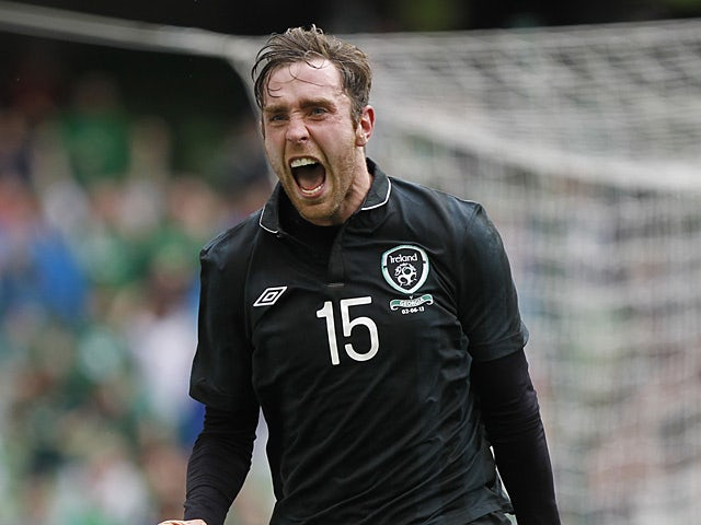 Ireland's Richard Keogh celebrates after scoring the opening goal against Georgia in a friendly match on June 2, 2013