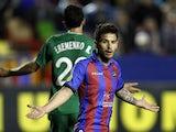 Levante's Ruben Garcia reacts after failing to score against Rubin Kazan during the Europa League match on March 7, 2013