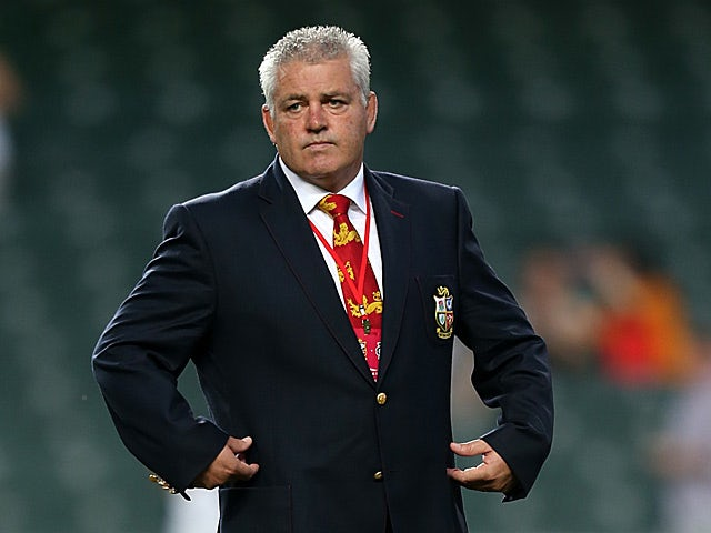 British and Irish Lions head coach Warren Gatland on the pitch before the match against the Barbarians on June 1, 2013