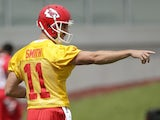 New Chiefs QB Alex Smith during a practice session on May 29, 2013