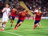 Spain's Alvaro Morata celebrates a goal against Russia on June 6, 2013