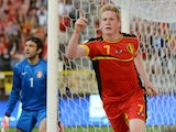 Belgium's Kevin De Bruyne celebrates after he scored against Serbia during their World Cup qualifying match on June 7, 2013