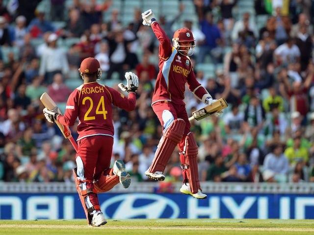 West Indies' Denesh Ramdin celebrates victory over Pakistan on June 7, 2013