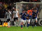 Italy's Lorenzo Insigne celebrates scoring against England in the U21 Championships match on June 5, 2013