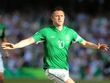 Republic of Ireland's Robbie Keane celebrates after scoring against the Faroe Islands on June 7, 2013