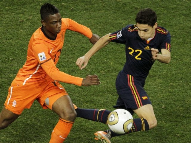 Jesus Navas playing for Spain in the 2010 World Cup final.