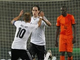 Germany's Lewis Holtby celebrates a goal against Germany on June 6, 2013