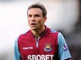 West Ham's Matt Taylor in action against Norwich on January 1, 2013