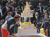 Spanish ace Rafa Nadal celebrates his birthday win over Kei Nishikori on June 3, 2013