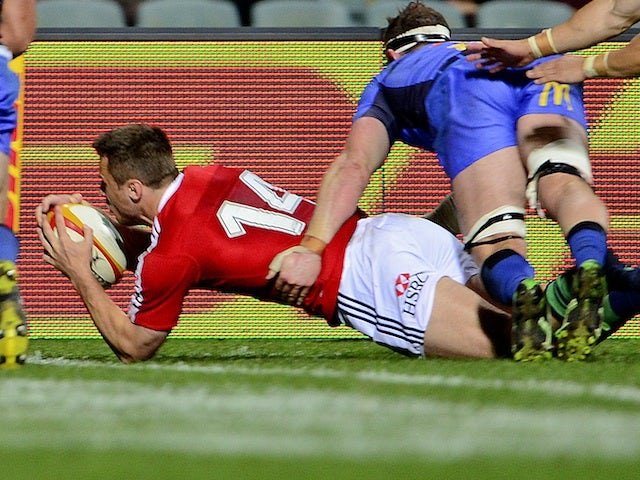 Tommy Bowe scores a try for the Lions against Force on June 5, 2013