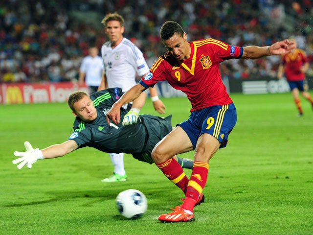 Spain's Rodrido just fails to beat Germany's Bernd Leno during the Under 21 match on June 9, 2013