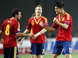 Spain players celebrate after Alvaro Morata scored the only goal of the match against Germany on June 9, 2013