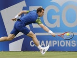 Andy Murray in action at Queens Club on June 12, 2013