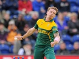 South Africa's Dale Steyn bowls against West Indies during the semi-finals of the ICC Champions Trophy on June 14, 2013