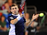 Great Britain's Dan Evans during the Davis Cup match against Russia's Evgeny Donskoy on April 7, 2013
