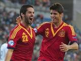 Spain's Isco celebrates with Alvaro Morata on June 12, 2013