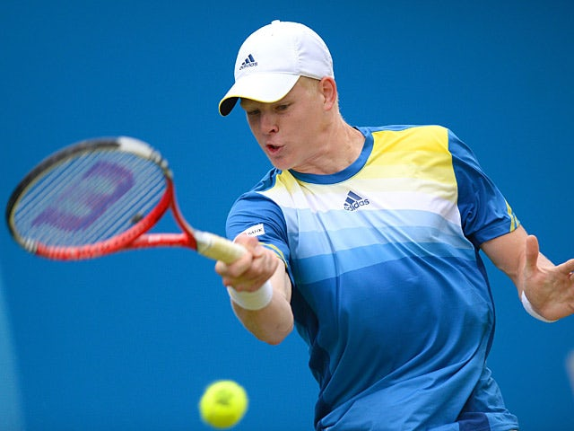 Kyle Edmund in action against Grega Zemlja during the AEGON Championships at The Queen's Club on June 11, 2013