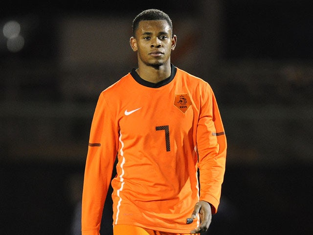 Leandro Bacuna of the Netherlands during the Under 21 international against Scotland on February 29, 2012