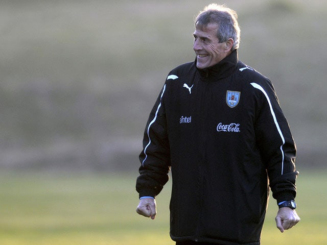 Uruguay's coach Oscar Tabares is seen during a training session ahead of the upcoming 2011 Copa America match on June 30, 2011