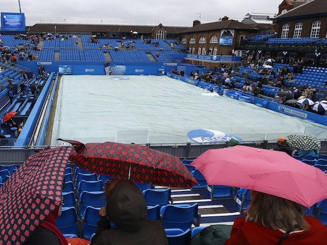 Rain stops play at Queens Club on June 12, 2013